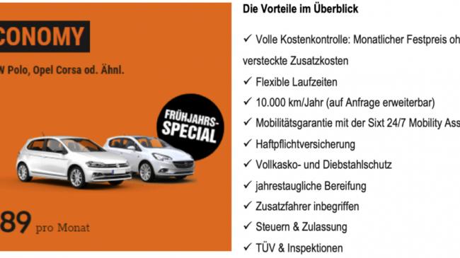 SIXT Flat – Frühjahrs-Special in der CORONA-KRISE: Das Auto-Abo ab nur 199€ pro Monat